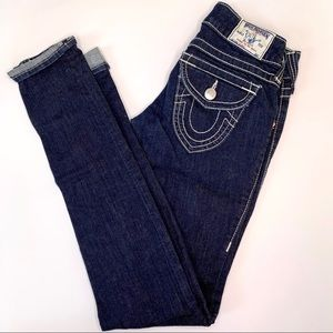 True Religion Skinny Jeans Dark Wash White Stitch